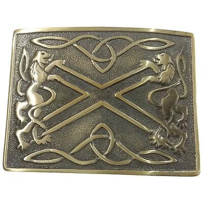 Kilt Belt Buckle Saltire Lion Rampant Antique Finish//Lion Rampant Kilt Buckles
