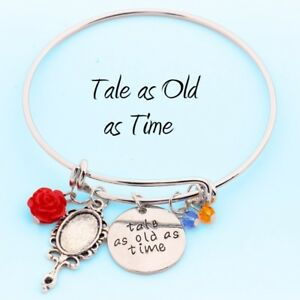 Beauty The Beast Charm Bracelet Tale As Old As Time Rose Bangle