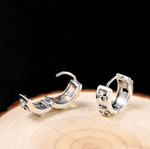 I03 Ohrring Klapp-Creole Schädel Totenkopf Sterling Silber 925