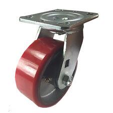 5 X 2 Polyurethane On Cast Iron Red Swivel