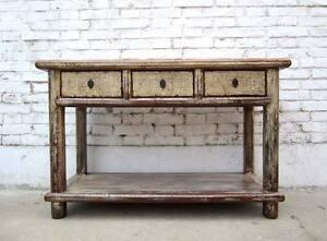Cina piccolo consolle armadio tavolo scrivania legno pino bianco