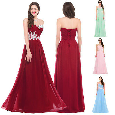 Chiffon Formal Wedding Bridesmaid Ball Gown Evening Prom Party Long Maxi Dress