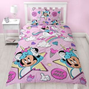 Minnie-Mouse-Licornes-Set-Housse-de-Couette-Simple-Rose-Filles-Reversible