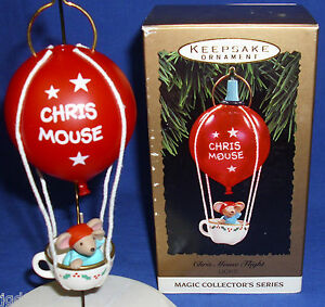Hallmark Series Ornament Chris Mouse Flight  #9 1993 Hot Air Balloon Lighted NIB