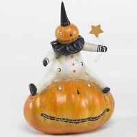 40145b 7 Pumpkin Man Sitting W/star Scarecrow Trick Or Treater Halloween Figure