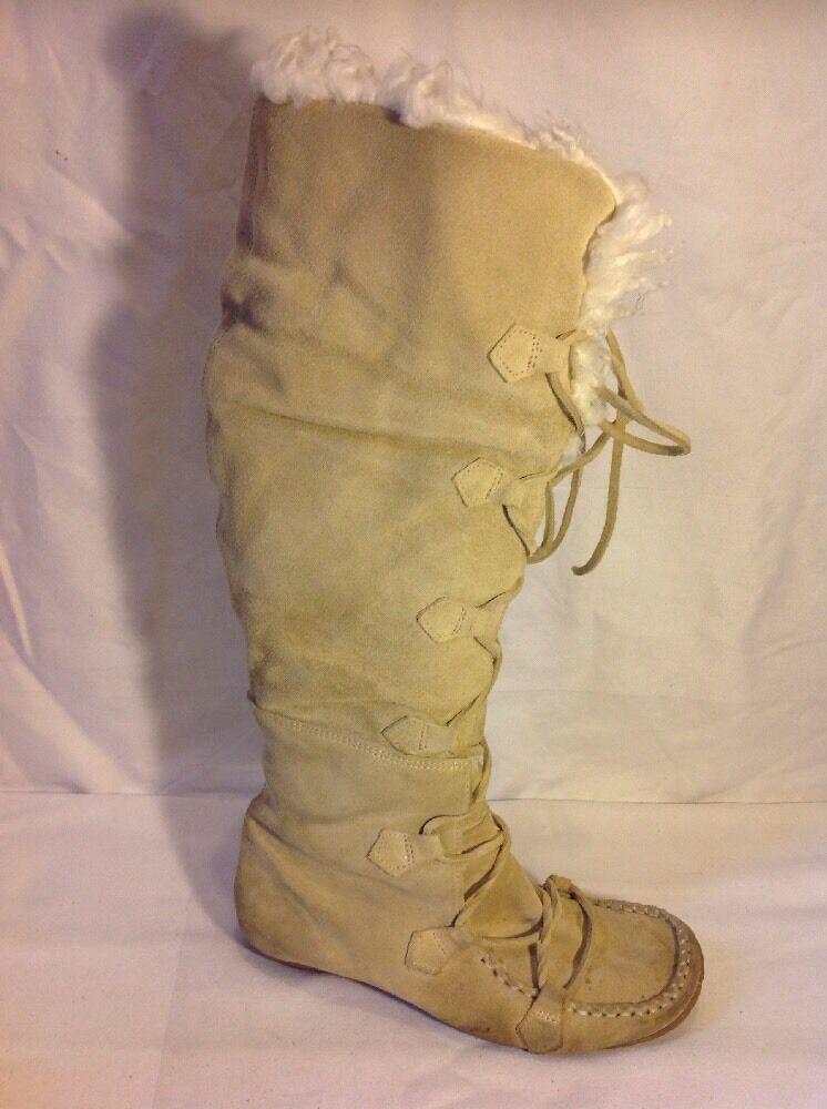 Moda In Pelle Beige Knee High Suede Boots Size 37