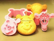 Disney Cookies Cutter Winnie The Pooh Plunger Biscuit Pastry Decor Mould 2PCS