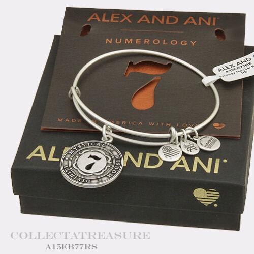 Authentic Alex and Ani Numerology Number 7 Rafaelian Silver Charm Bangle