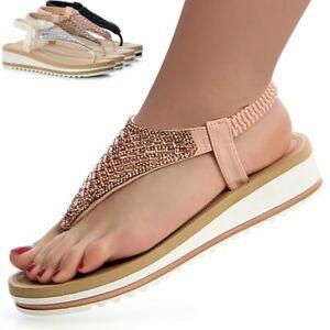 Damenschuhe Glitzer Sandalen Zehentrenner Sandaletten Plateau Keilabsatz Riemen