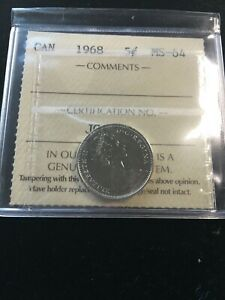 1968-ICCS-Graded-Canadian-5-Cent-MS-64