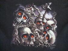 Vintage 80s 3D Emblem Skulls Graveyard motorcycle cycle soft thin T Shirt XL