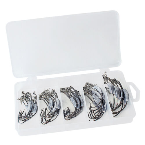 1 Box Weighted Fishing Hooks with Lead Soft Worm Crank Hook Wide Gap Hooks