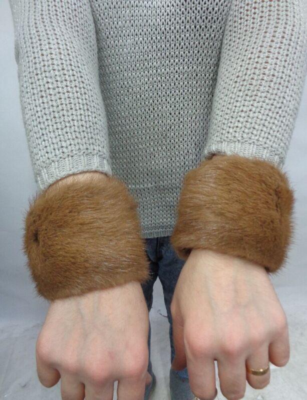 Faithful Excellent Canadian Pastel Mink Fur Cuffs Bracelets Women Woman A Wide Selection Of Colours And Designs