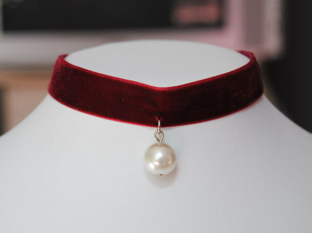 Lolita Sexy White Pearl Red Velvet Ribbon Choker Necklace Gothic In Gift Box J56