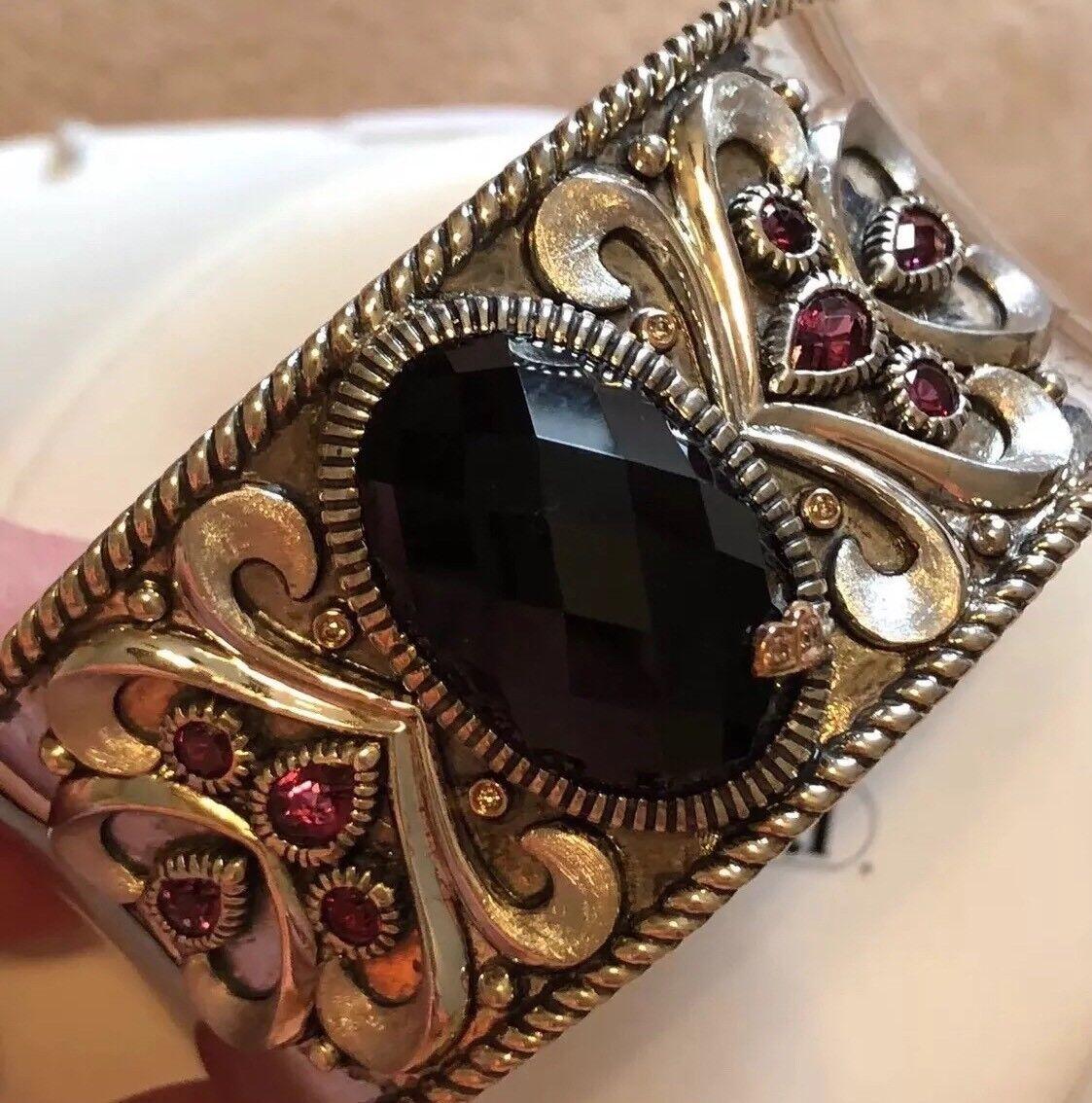 Bellarri Retired 18K Pink gold Sterling Onyx Rhodolite Diamond Cuff Bracelet 89g