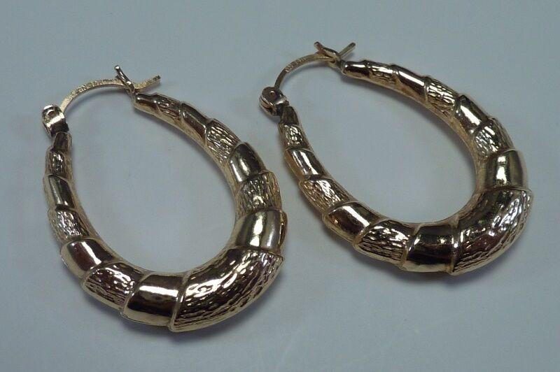 14K Yellow gold 3 8  X 1-1 8  Wide Hoop Earrings