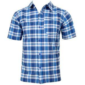 Salomon-Herren-UV-50-Hemd-kariert-Wanderhemd-Outdoor-Check-Shirt-karo-blau-46-S