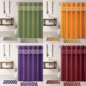 4PC-SET-BATHROOM-BATH-MAT-RUG-SHOWER-CURTAIN-FABRIC-COVERED-RINGS-MIX-COLORS