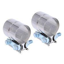"2pcs Stainless Lap Joint Clamp Sleeve Band For 2.5"" 2 1/2"" Exhaust OD Pipe"