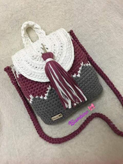 Drawstring Backpack Knitted Chevron Christmas Red Shoulder Bags