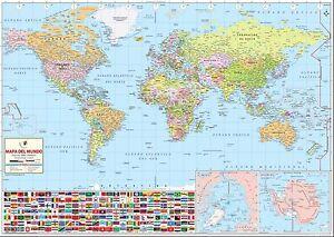 World map in spanish wall map 36 x 255 laminated ebay image is loading world map in spanish wall map 36 034 gumiabroncs Choice Image