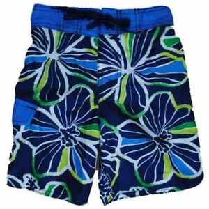 Boys Black Hawaiian Tropical Cargo Swim Trunks Board Shorts