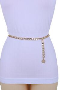 Women-Gold-Metal-Chain-Band-Fancy-Style-Belt-Coin-Charm-Dressy-Plus-Size-XL-XXL