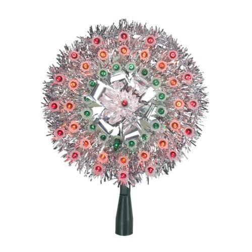 "Northlight Lighted Silver Tinsel Starburst Christmas Tree Topper 8/"" Multi"