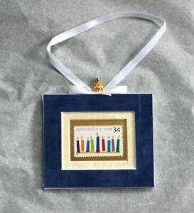 NEW-Hanukkah-Hand-Crafted-Velvet-Framed-USA-Stamp-Hanging-Ornament