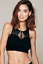 NEW Free People Intimately High Neck Bra Crop Top in Black SzXS//S-M//L $54.11