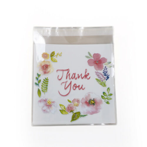 100pcs Thank You Candy Cookie Bags Party Craft Self-adhesive Biscuit Gift Bag FJ
