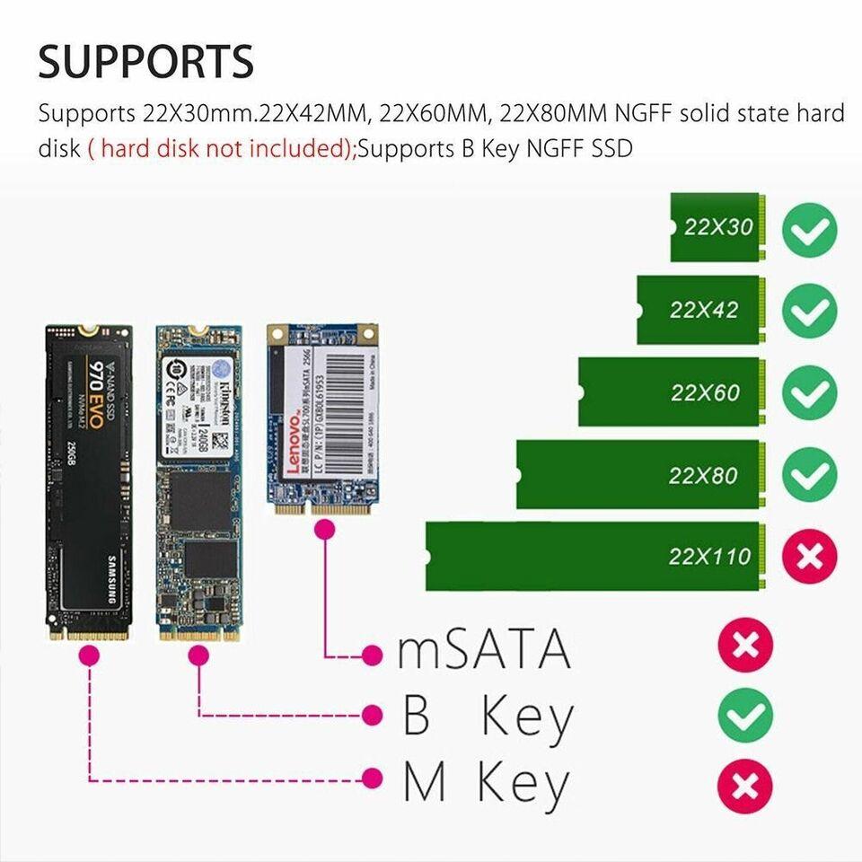 M.2 SATA SSD to USB 3.0 , ekstern, 1 GB