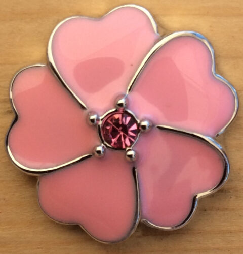 ,@Snap Chunk Button Pink Enamel Pink Set Charm For Ginger Snap Style Jewelry