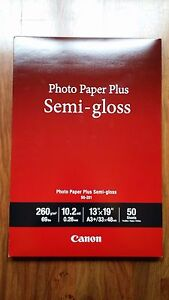 "Canon SG-201 Photo Paper Plus Semi-Gloss 13/""x19/"" 50 Sheets//Pack 13x19"