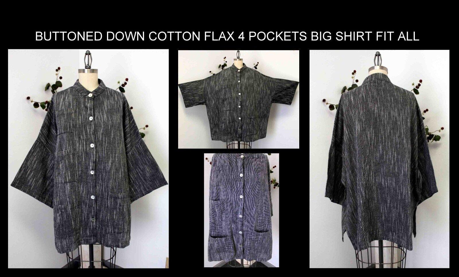 Free Shipping Artsy4 Pockets Cotton Flax Designer Big Shirt.Plus Größe Lagen Look