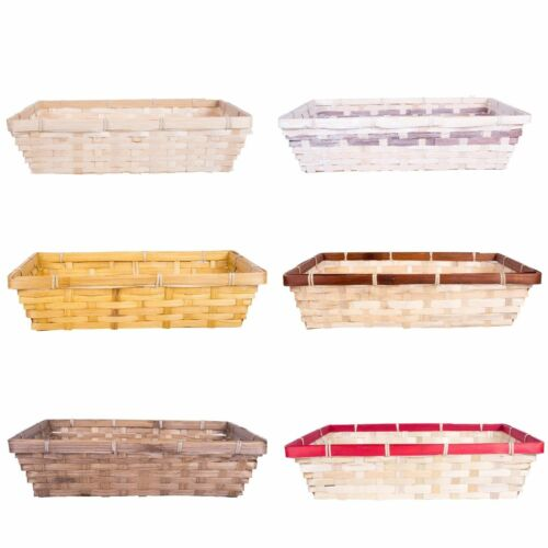 Bamboo Natural Color Wicker Display Gift Baskets with Shredded Paper Filling