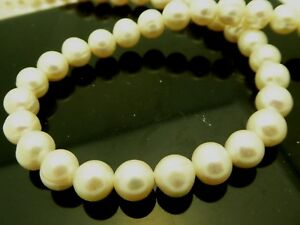 af1ac6831 Image is loading Natural-7-5mm-White-Freshwater-Pearls-Slightly-Round-