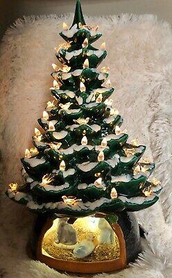 Ceramic Christmas Tree With Snow.Ceramic Christmas Tree Snow Clear Lights Birds Holy Nativity Base 20 Tall Ebay
