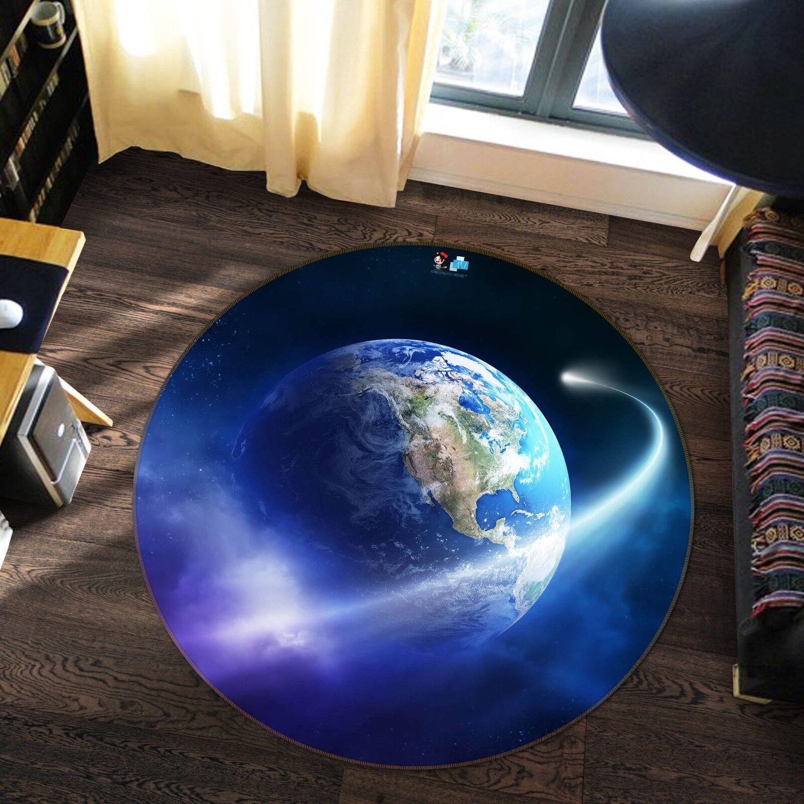 3D Blau Earth 7 Non Slip Rug Mat Room Mat Round Quality Elegant Photo Carpet US