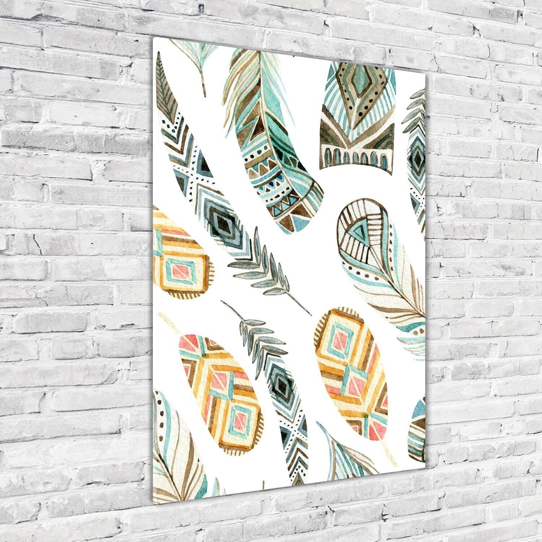 Wand-Bild Kunstdruck aus Acryl-Glas Hochformat 70x100 Ethnische Federn
