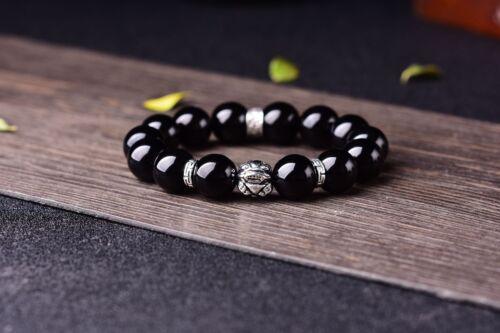 Natural Black Obsidian Chinese Dragon Pixiu Beads Women/&Men Bracelet Gifts