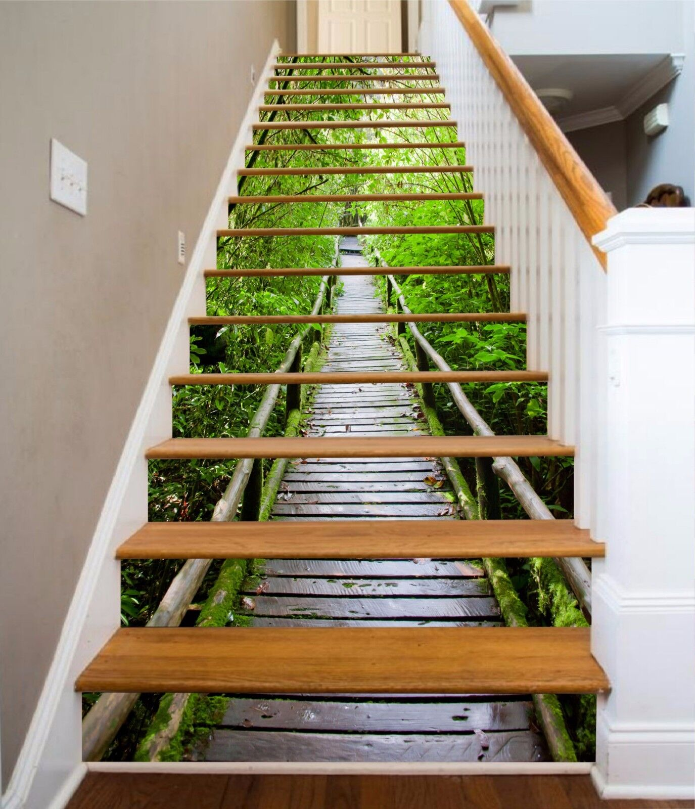 3D Bamboo Road Stair Risers Decoration Photo Mural Vinyl Decal Wallpaper AU
