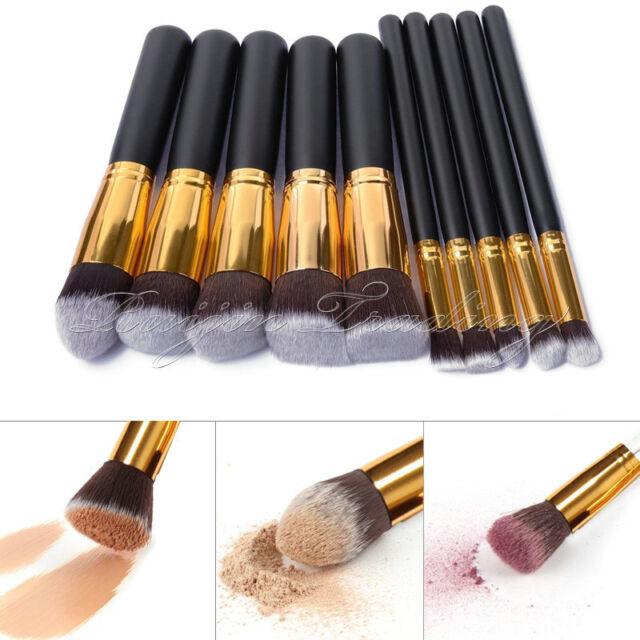 10Pcs Cosmetic Brush Makeup Face Powder Eyeshadow Blush Brushes Set Beauty Tools