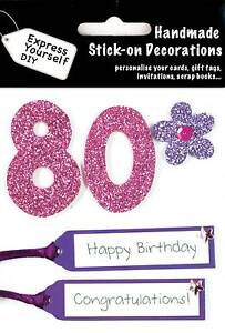 Image Is Loading Pink 80th Birthday DIY Greeting Card Toppers Personalise