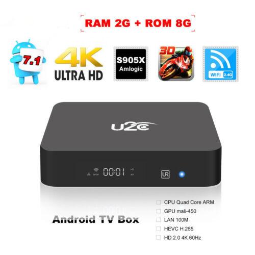 U2C Amlogic S905X 2G RAM 8G ROM 4K WiFi HD Android 7.1 Smat TV Box