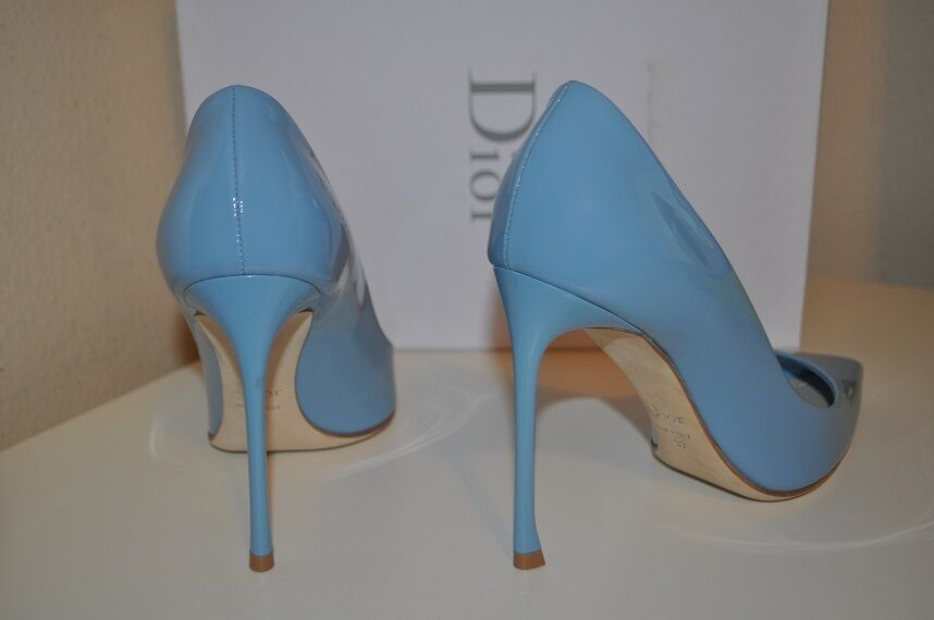 NIB  660+ 660+ 660+ Christian Dior blueE Pointy Toe Pump Heel shoes Patent Leather 37 - 7 755678