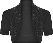 New Cotton Sequin Beaded Cap Short Sleeve Shrug Bolero Cardigan Top Size 8-26