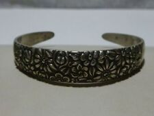 CONTESSINA 1965 BY TOWLE STERLING SILVER CUFF BRACELET LARGE FIT REPOUSSE FLOWER