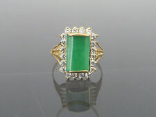 Vintage 18K Solid YG Natural Apple Green Jadeite Jade & White Topaz Ring Sz 8.25
