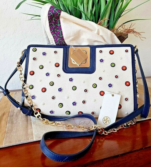 e3068303d765 TORY BURCH MARGUERITE TURN-LOCK CLUTCH SHOULDER BAG CANVAS  NAVY LEATHER+DUSTER